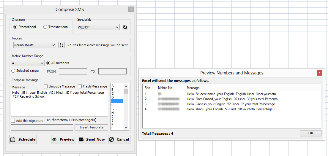 sms excel plugin use