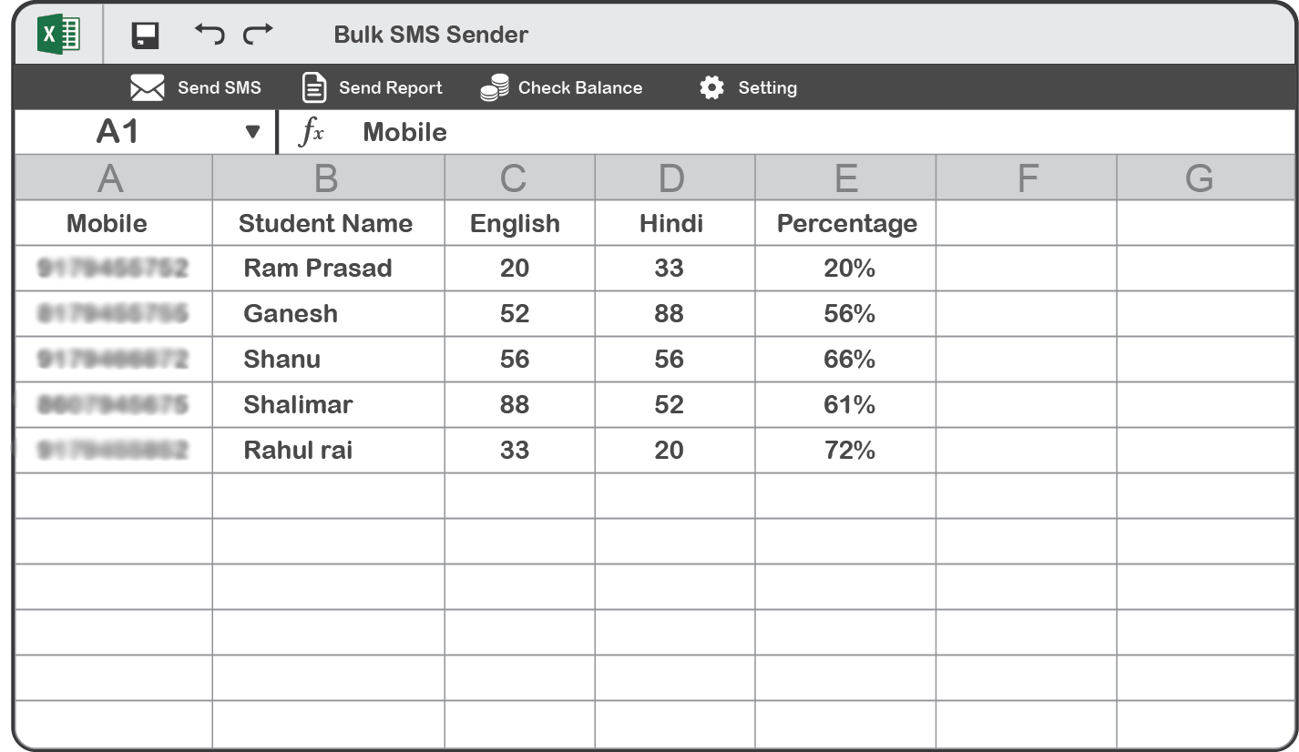 Bulk SMS Excel Plugin Step